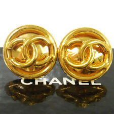 """Earrings Gold-Tone Clip-On 1.0 """" T04439 Auth Chanel Vintage Cc Logos Button"""