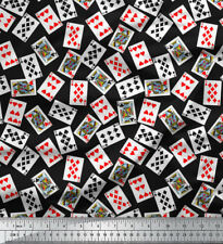 Soimoi Cotton Fabric Poker Card Print Sewing 58 Inches Wide Material 1 Yd