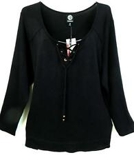 Bobeau black SEXY CLEAVAGE GOTH tie up front long sleeve plus size top 2X