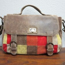 VINTAGE Suede Leather Patch Work Boho Briefcase Shoulder Bag Cross Body Duffle