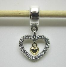 """Original Pandora Anhänger   Silber,Gold """"Funkelnde Liebe"""" 791421CZ  NEU"""