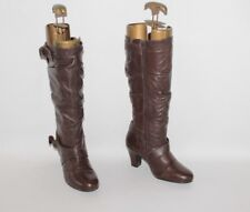 Brown Leather TU Zip Strap Slouch Mid Calf Round toe Mid Heel Boots Size 4 / 37