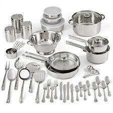 New ListingStainless Steel Cookware Set Kitchen Tools Pots Pans Bowls Lids 10/18/52 Pieces