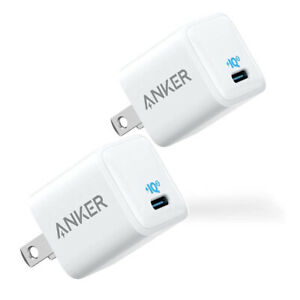 2X Anker 20W Nano Charger USB-C Fast Charging for iPhone 13/12 Pro- Refurbished