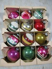12 Vintage/Antique Shiny Brite Glass Christmas Tree Ornaments W/Box USA Eckardt