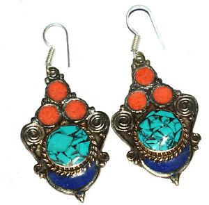 Coral,Turquoise,Lapis Gemstone Sterling Silver Nepali Tibetan Earrings JS01-34