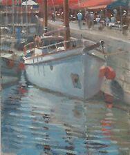"""Original michael richardson huile """"ketch à Honfleur"""" port france peinture"""