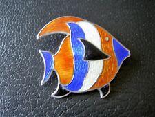 """Vintage Beau Sterling Silver Fish Blue Orange Cloisonne Pin Brooch 6.8 Gr -1.25"""""""