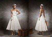 Vintage White/Ivory Lace Tea Length Sweetheart Wedding dress Size6-8-10-12-14-16
