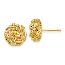 14k Solid Yellow Gold Love Knot Loveknot Earrings Post Stud