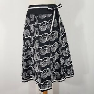 Beautiful Quality Sara Isabella Black White Skirt Size 12/14 14 Linen Blend