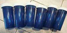 "LOT OF 6 BLUE Empty Plastic CRAFTS / STORAGE / Pill Bottles 1 1/2"" DIAM X 4"""