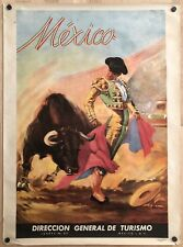 Original Vintage Poster MEXICO Mexican Bullfight Airline Travel Tourism Juarez