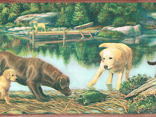 COUNTRY LABRADOR DOG & PUPPY STOCKING TURTLE CABIN ON LAKE Wallpaper bordeR Wall