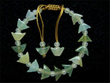 Adjustable Jadeite Jade Beaded Bracelet -16 White with Light Green Money Yuanbao