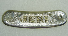 Belt, Saddle, Name Plate 139-0 Sterling Silver With Gold ''Jeri'&#0 39;