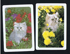Playing Swap Cards  2   VINT  CATS  FLUFFY WHITE  KITTENS  IN  GARDEN   W178