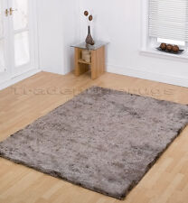 LARGE THICK SHAGGY SHINY SOFT BEIGE GOLD RUG 120x170