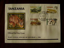 TANZANIA 1985 RARE ANIMALS of ZANZIBAR Official ILLUSTRATED F.D.C. 4 v to 17/50.