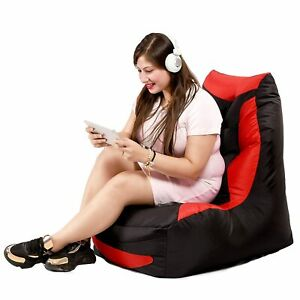 Bean Bag Play Station Gaming Chair Black & Red Without beans for home decor gift