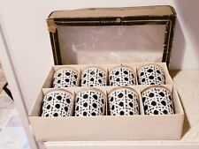 Set Of 8 Vintage Jeannette Black and White Cane glasses tumblers on the rocks