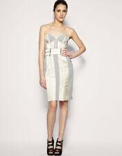 Womens New Karen Millen Beige Champagne Corset Wiggle Fitted Dress Size UK 14 42