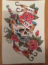 Dagger Skull Love Kills Slowly Embroidered Iron On Vinyl Patch