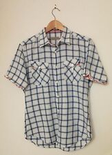 Ted Baker White Short Sleeved Mens Shirt, Collared Fitted Cotton Size 3 M Medium