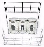 Deep Wide Chrome Canister Spice Jars Pot Beans Tin Rack Storage Shelf Wall Mount