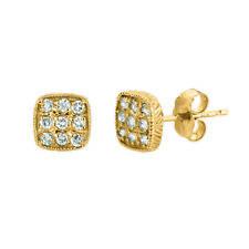 0.30 Carat Natural Diamond Square Earrings G SI 14K Yellow Gold