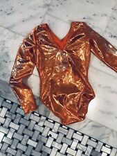 Gk Elite Orange Sparkle Gymnastics Leotard, Size Cl Child's Large