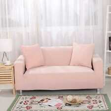 1/2/3/4 Sofa Couch Slipcover Stretch Covers Elastic Fabric Settee Protector Fit Light Pink 3 Seater