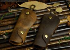 Vintage Genuine Leather Car Key Case Ring Chain Cover Brown Holder Wallet Men