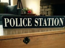 Police Sign Station Old Vintage Look Wood Gift Plaque Retirement Kids Room