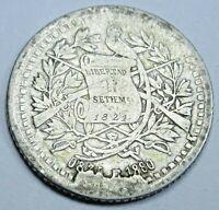 1880 Cud Mint Error Guatemala Silver 1/2 Reales Antique 1800's Guatemalan Coin