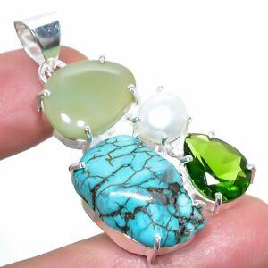 "Tibetan Turquoise, Chalcedony Gemstone Silver Jewelry Pendant 1.9"" PRJ4092"