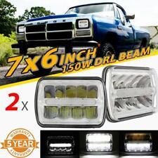"For Dodge Toyota Honda Jaguar 2PCS 7x6"" 5x7"" 150W LED Headlights Chrome DRL Beam"