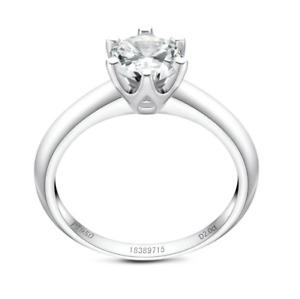 GRA Certificated Real 2CT Moissanite Diamond Wedding Engagement Platinum Ring R2