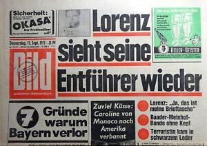 Kult-Zeitschrift BILD ZEITUNG 11.9.1975, Frau von Omar Sharif; Caroline Monaco