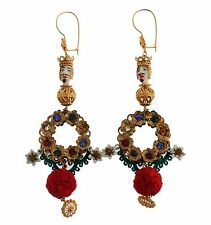 NEW $960 DOLCE & GABBANA Earrings Crystal Gold Floral Pupi Doll Dangling Hook