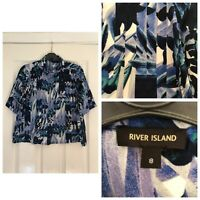 River Island Womens Cropped Shirt Blue Size 8