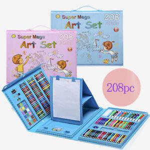 208 Pcs Art Set Kids Childrens Colouring Drawing Painting Arts & Crafts Case UK