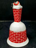 Christmas Bone China Porcelain Santa Stuck in Red Brick Chimney Bell Vintage