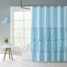 """Mizone Rushed Fabric Shower Curtain, 72"""" x 72"""", Teal Blue"""