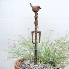 Cultivating Fork & Bird Cast Iron Rain Gauge Garden Stake Rustic Brown Outdoors