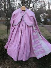Reenactor 19Th C Victorian Civil War 2 Pc Gown Dress Jacket Skirt Grey Pink New