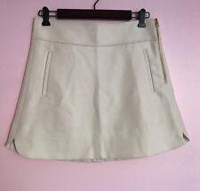 J.Crew Petite Mini Skirt in Double-serge Wool $98, Ivory, size 8P, NWT
