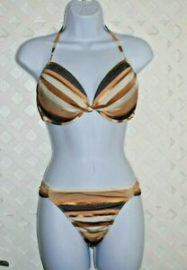 VICTORIA SECRET Striped Bikini Halter Padded Pushup 34DD Swimsuit 2 Pc.