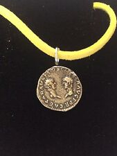 "Denarius Vespa Roman Coin WC27  Made From  Pewter On 18"" Yellow Cord Necklace"
