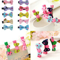 10pcs Toddler Girl Cute Hair Clip Ribbon Bow Baby Kids Satin Bowknot Headband